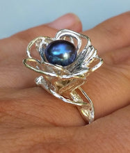 Load image into Gallery viewer, Black Pearl Silver Ring