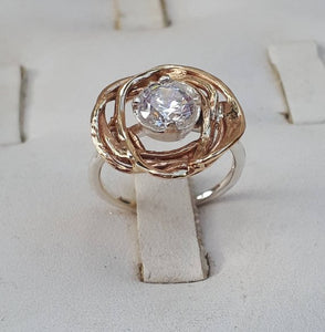 Silver And Gold Engagement Ring
