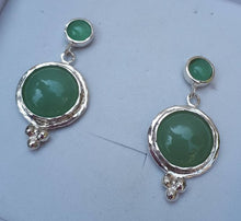 Load image into Gallery viewer, aventurine silver earrings