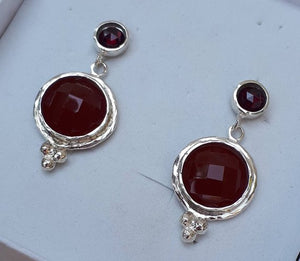 Garnet Agate Silver Earrings