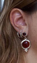 Load image into Gallery viewer, Garnet Agate Silver Earrings
