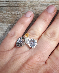 Flower Citrine Silver Ring