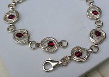 Load image into Gallery viewer, Amethyst Silver Link Bracelet
