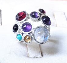 Load image into Gallery viewer, Multistone Silver Ring