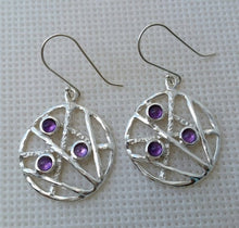 Load image into Gallery viewer, silver amethyst earrings