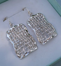 Load image into Gallery viewer, Silver Rectangular Earrings