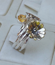 Load image into Gallery viewer, Flower Citrine Silver Ring