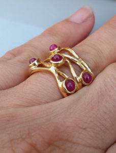 Multistine Gold Ring