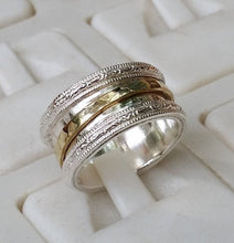 Load image into Gallery viewer, Silver And Gold Spinner Ring