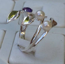 Load image into Gallery viewer, pearls silver ring