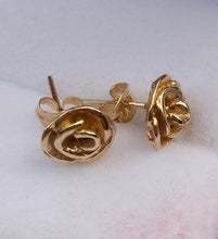 Load image into Gallery viewer, Gold Rose Stud Earrings