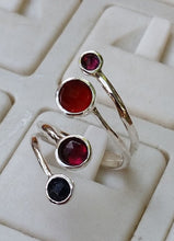 Load image into Gallery viewer, adjustable silver gemstones ring