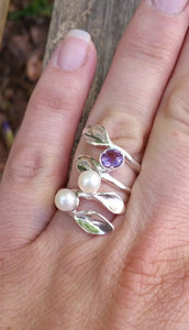 Leaves Pearls Silver Ring
