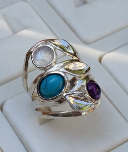gemstones silver ring
