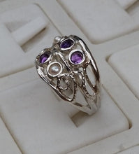 Load image into Gallery viewer, Pearl Amethyst Silver Ring