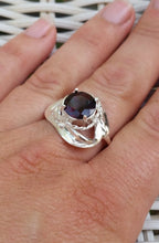 Load image into Gallery viewer, Silver Large Garnet Ring