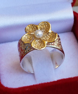 Silver and Gold Pearl Ring