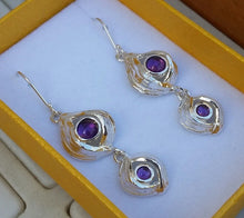 Load image into Gallery viewer, Amethyst Silver Long Earrings
