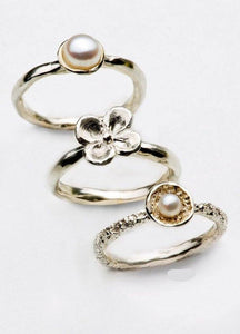 Stackable Pearls Silver Ring
