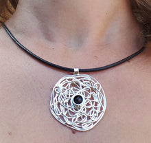 Load image into Gallery viewer, leather and silver necklace