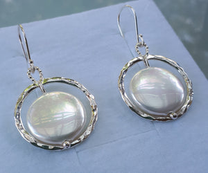 Mother Of Pearl Silver Earrings