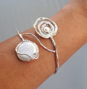 Mother Of Pearl Silver Bangle