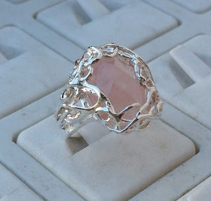 Silver Rose Quartz Ring
