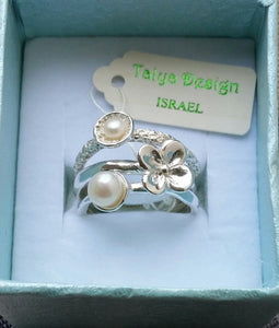 pearls silver ring