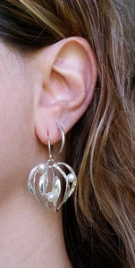silver pearls earrings