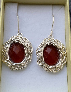 agate silver earrings