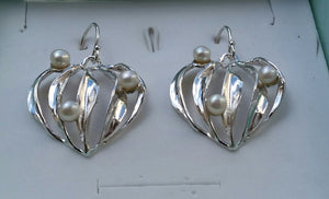 Silver Heart Pearls Earrings