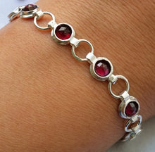 Load image into Gallery viewer, Silver Garnet Link Bracelet
