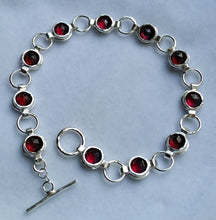 Load image into Gallery viewer, silver garnet bracelet