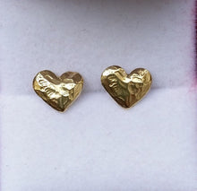 Load image into Gallery viewer, Heart Gold Stud Earrings