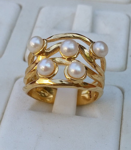 Gold Pearls Ring