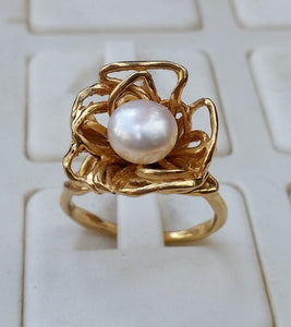 pearl gold ring