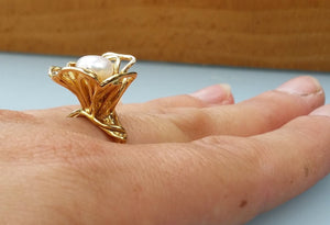 Gold Pearl Promis Ring