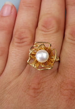 Load image into Gallery viewer, Gold Pearl Promis Ring