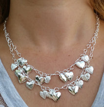 Load image into Gallery viewer, hearts silver necklace