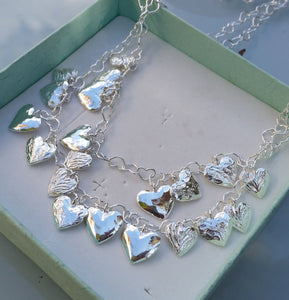 Hearts Silver Stacked Necklace