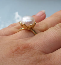 Load image into Gallery viewer, Large Pearl Gold Ring