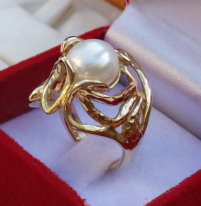 Gold Large Pearl Ring