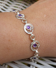 Load image into Gallery viewer, silver amethyst link bracelet