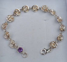 Load image into Gallery viewer, silver rose bracelet