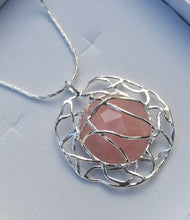 Load image into Gallery viewer, Rose Quartz Silver Pendant