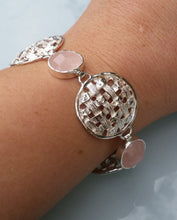 Load image into Gallery viewer, Rose Quartz Silver Bracelet