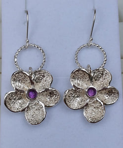amethyst silver earrings