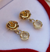 Load image into Gallery viewer, gold moonstone studs