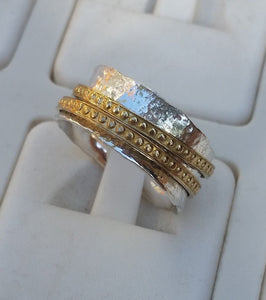 Silver And Gold Spinner Ring