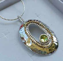 Load image into Gallery viewer, Silver Gold Peridot Pendant